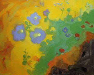 Abstract on Petunias B, 16x20