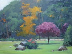 Autumn Trees and Stones, 12x16