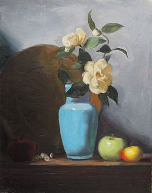 Blue Vase and Magnolia, 18x14