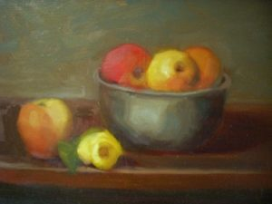 Bowl of Fruit and Yellow Rose, 14x11