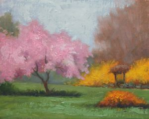 Cherry Tree and Forsythia, 8x10