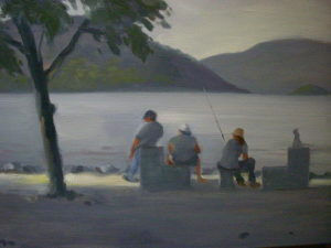 Fishing at Peekskill Landing, 14x18