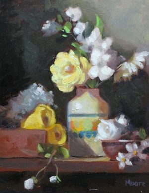Floral in Small Mexican vase, 14x11