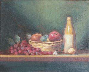 Fruit Basket with Bottle, 8x10