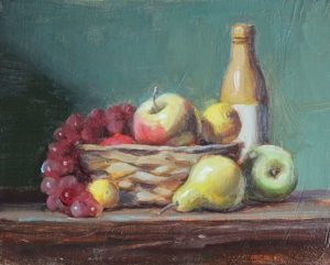 Fruit Basket with Bottle and Pears, 8x10