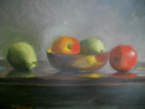 Fruit in Brass Bowl, 16x20