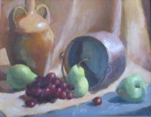 Green Pears, Pot and Jug, 12x16