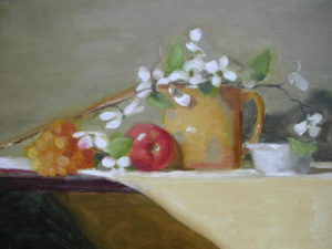 Jug with Dogwood, apple, 14x18
