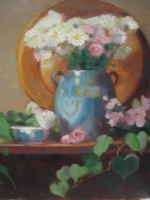 Mums in Decorative Vase, 24x20