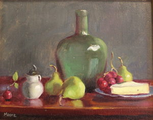 Pears, Bottle and Brie, 11x14
