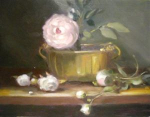 Peonese in Brass Container, 14x18