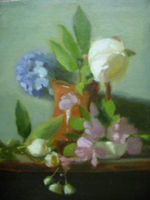 Peonies, Hydrangea in Rockingham Pitcher, 18x14