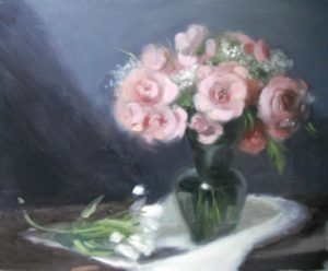 Pink Roses in Glass Vessle, 16x20