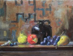 Red apple and grapes, 12x16