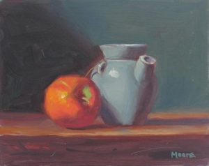 Red Apple, Blue Pitcher, 8x10