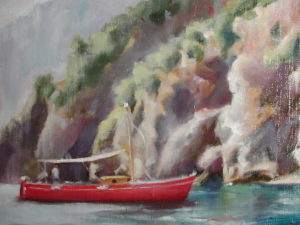 Red Boat in Positano, 14x18