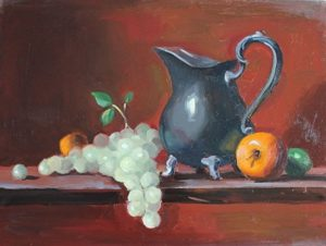 Silver Pitcher and Fruit, 11x14