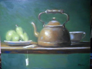 Tea Pot on Green Background, 16x20