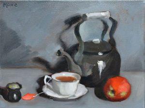 Tea Pot with apple on gray, 9x12