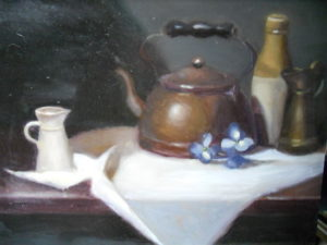 Tea Pot with Bottles, 16x20