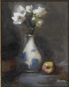 White Flowers and Apple, 10x8