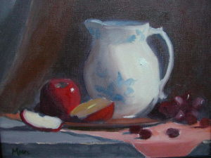 White Pitcher with Red Apple Sliced, 11x14