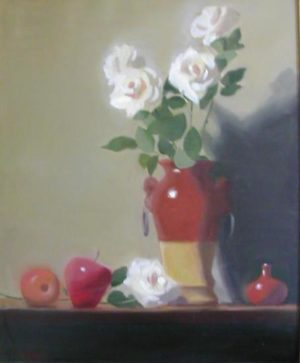 White Roses in Tall Clay Vase, 24x20