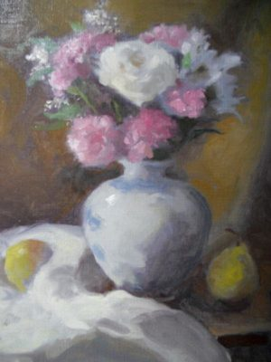 White Rose and Pink Carnations, 18x14