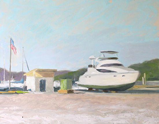 Yacht at New Hamburg, 14x18