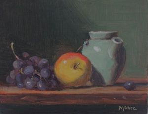 Yellow Apple, Blue Pitcher, 8x10