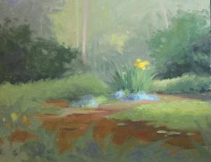 Yellow Lillies, Pond, 11x14