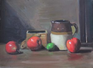 Ceramic Pitcher and Red Apples